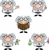 stock photo of physicist  - Funny Scientist Or Professor Different Poses 2  Collection Set - JPG