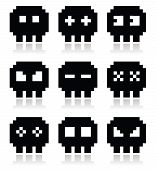 stock photo of pixel  - Cartoon black pixel skull icons isolated on white - JPG