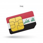 foto of iraq  - Iraq mobile phone sim card with flag - JPG