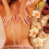 stock photo of shoulders  - Masseur doing massage on woman back in the spa salon - JPG