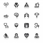 foto of flat stomach  - Set of black flat icons with reflection about health - JPG