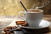 picture of tar  - Cup of black coffee with dessert composition Isernia coffee tar background