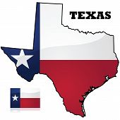 picture of texas state flag  - Map and flag of the state of Texas in the United States of America - JPG