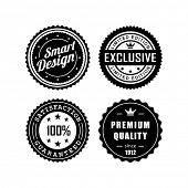 Vintage labels, exclusive, premium quality, satisfaction guaranteed, smart design