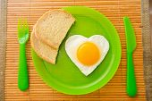 Fried Egg In The Shape Of Heart