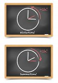 stock photo of daylight saving time  - detailed illustration of blackboards with daylight saving clocks - JPG