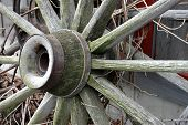 picture of wagon wheel  - Weathered wagon wheel resting against barn - JPG