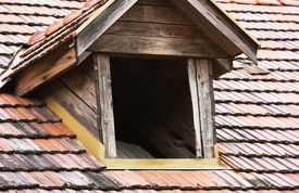 picture of gabled dormer window  - One antique roof window to the attic - JPG