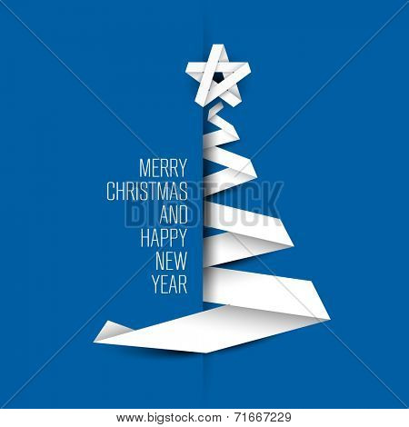 Simple blue vector christmas tree made from paper stripe - original new year card poster