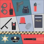 picture of special forces  - Police protect and serve special forces icons set isolated vector illustration - JPG