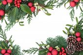 image of mistletoe  - Christmas background border with red bauble decorations - JPG