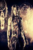 stock photo of dreamcatcher  - Portrait of the American Indian - JPG