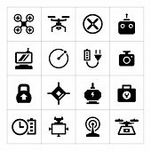 picture of drone  - Set icons of quadrocopter hexacopter multicopter and drone isolated on white - JPG