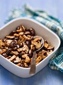 foto of sauteed  - close up of a bowl of rustic sauteed mushroom - JPG