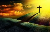 stock photo of holy-spirit  - christian cross on sunset background for your design - JPG