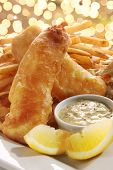 picture of halibut  - Halibut Fish and chips with french fries and tartar sauce - JPG