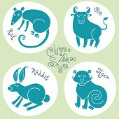 stock photo of oxen  - Set of signs of the Chinese zodiac Rat - JPG