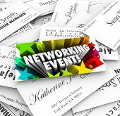 stock photo of mixer  - Networking Event words on a business card on a stack of contacts collected at a mixer - JPG