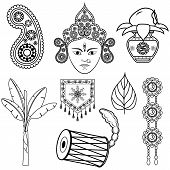 stock photo of dhol  - vector illustration of design for Dussehra decoration with Durga - JPG