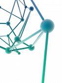image of plexus  - green metallic nerve plexus model on white background - JPG