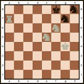 foto of mating  - Mate in two moves on the chessboard and the character set of chess pieces - JPG
