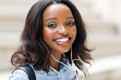picture of afro  - close up portrait of afro american female university student on campus - JPG