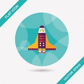 image of spaceships  - Spaceship Flat Icon With Long Shadow - JPG