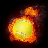 stock photo of olympiad  - Tennis Ball on Fire - JPG