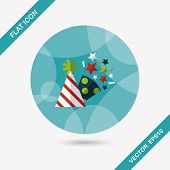 picture of party hats  - Birthday Party Hat Flat Icon With Long Shadow - JPG
