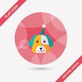 picture of dog birthday  - Dog Birthday Flat Icon With Long Shadow - JPG