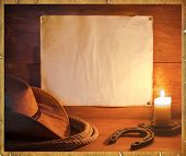 picture of lasso  - American rodeo cowboy background with western hat and lasso for text - JPG
