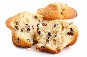 picture of chocolate muffin  - Broken light chocolate chip muffin on white - JPG