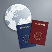 image of passport cover  - Vector international blue and red passports with globe - JPG