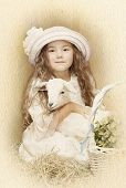 picture of baby goat  - Child posing with her pet goat - JPG
