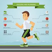 image of jogger  - Fitness infographics concept with smiling cartoon jogger and the set of flat design style fitness icons - JPG