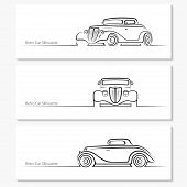 foto of car symbol  - Set of vintage car silhouettes - JPG