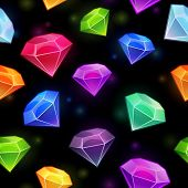 pic of gem  - Seamless pattern with gems and diamonds in different colors on the black background - JPG