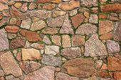image of mortar-joint  - Natural stone wall made of quarry stones - JPG