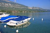 foto of annecy  - boats moored on Lake Annecy in France - JPG