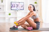 image of fitness-girl  - Fitness at home concept - JPG