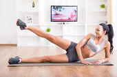 stock photo of stretch  - Fitness workout healthy living and diet concept - JPG