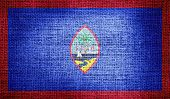 image of guam  - Grunge of Guam flag on burlap fabric - JPG