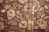 picture of wood pieces  - pieces of teak wood stump background for decoration - JPG