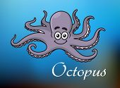 stock photo of octopus  - Smiling cute violet cartoon baby octopus character swimming in blue sea with white caption Octopus for childrens book - JPG