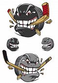 foto of ice hockey goal  - Angry evil hockey puck chomping an ice hockey stick with a toothy leer - JPG