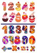 picture of number 7  - Two colorful sets of vector numbers or digits - JPG