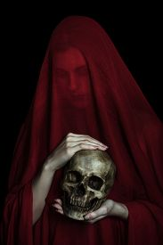 foto of ghoul  - Girl posing with red cloth - JPG