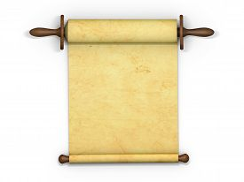 picture of scroll  - Antique scroll of parchment manuscript isolated on white background - JPG
