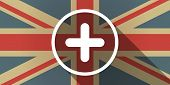 image of subtraction  - Illustration of a UK flag icon with a sum sign - JPG