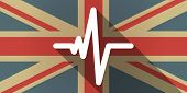 image of beating-heart  - Illustration of a UK flag icon with a heart beat sign - JPG